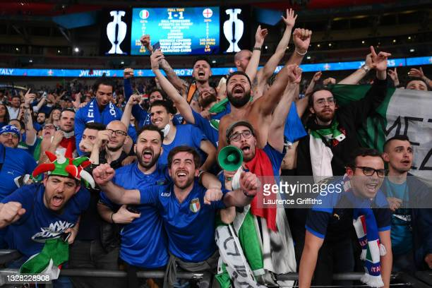Italy fans celebrate after victory in the UEFA Euro 2020 Championship Final between Italy and England at Wembley Stadium on July 11, 2021 in London,...