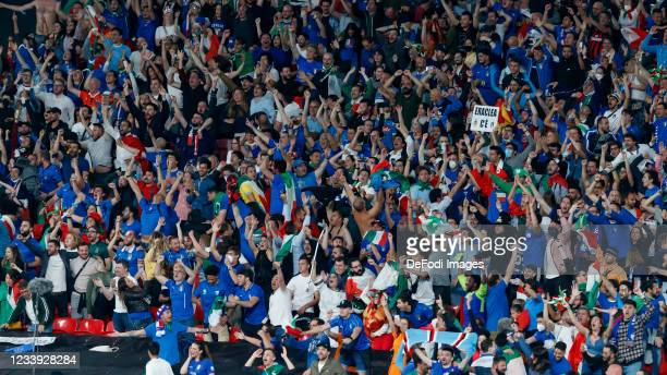 Italy fans cheer after Leonardo Bonucci of Italy scores the goal to make it 1-1 during the UEFA Euro 2020 Championship Final between Italy and...
