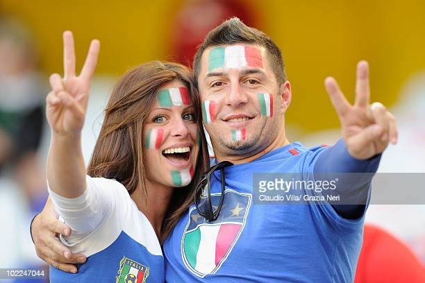 Italy fans enjoy the atmosphere ahead of the 2010 FIFA World Cup South Africa Group F match between Italy and New Zealand at the Mbombela Stadium on...