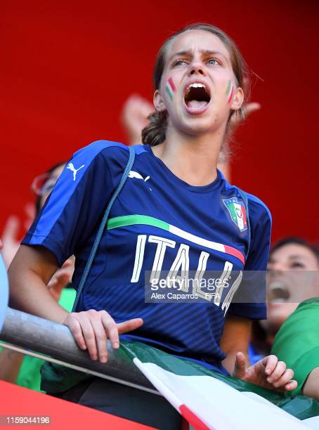 Italy fans show their support during the 2019 FIFA Women's World Cup France Quarter Final match between Italy and Netherlands at Stade du Hainaut on...
