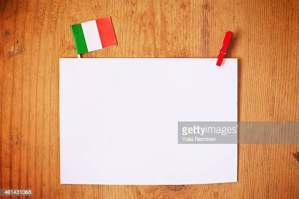 Italy flag with white letterhead