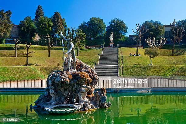 Italy, Florence, Boboli garden, Neptune fountain