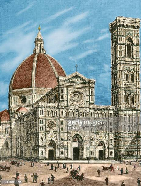 Italy. Florence. Cathedral of Saint Mary of the Flower . Facade. Engraving by Sehers. 'La Ilustracion', 1887. Colored.