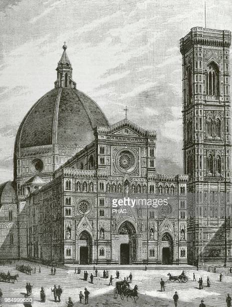 """Italy. Florence. Cathedral of Saint Mary of the Flower . Facade. Engraving by Sehers. """"La Ilustracion"""", 1887."""