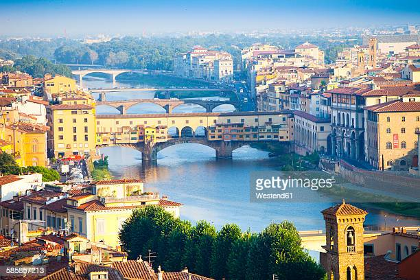 Italy, Florence, cityscape with River Arno and Ponte Vecchio