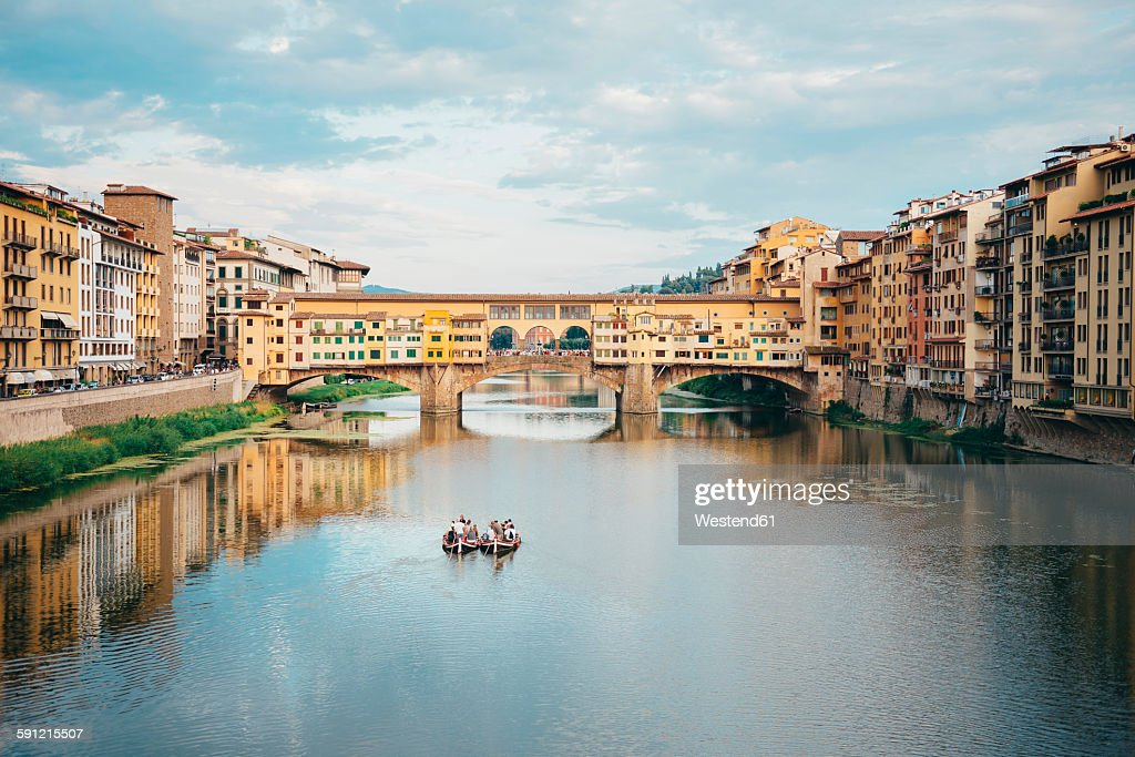 Italy, Florence, River Arno and Ponte Vecchio : Stock Photo