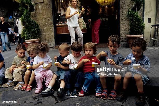 Italy Florence Street Scene Children Eating Icecream