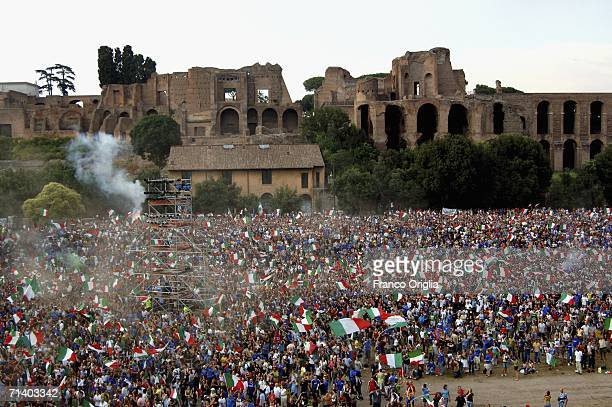Italy football fans celebrate after the goal of Materazzi during a live broadcast of the FIFA World Cup 2006 final between France and Italy at Circus...