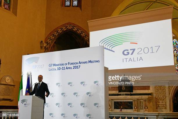 Italy Foreign Minister Angelino Alfano speaks during the closing press conference of the meeting of Foreign Affairs Ministers from the Group of Seven...