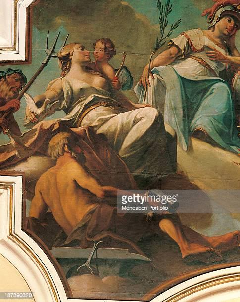 Italy FriuliVenezia Giulia Gorizia Palazzo AttemsPetzenstein Musei Provinciali di Gorizia Detail Fresco representing the Gods of Olympus sitting on...