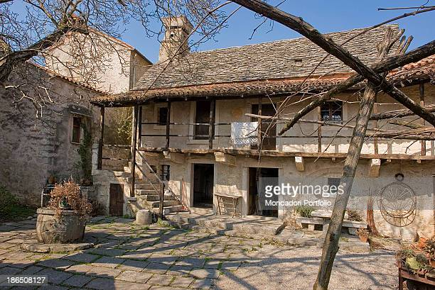 Italy FriuliVenezia Giulia Monrupino Typical Karst rustic house dating from at least three centuries ago restored for the last time in 1968