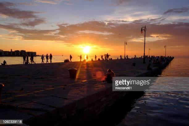 italy, friuli-venezia giulia, trieste, pier at sunset - トリエステ ストックフォトと画像