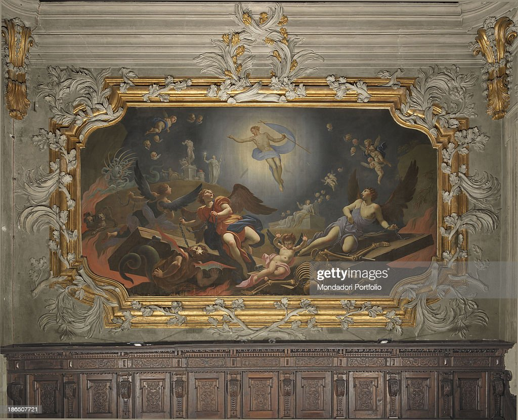 Glorification of Jesus in the Resurrection, Triumph of Faith which overcomes Idolatry, binding of Satan, Sin and Death, by Louis Dorigny, 1718, 18th Century, fresco, white stucco, gilded stucco : News Photo