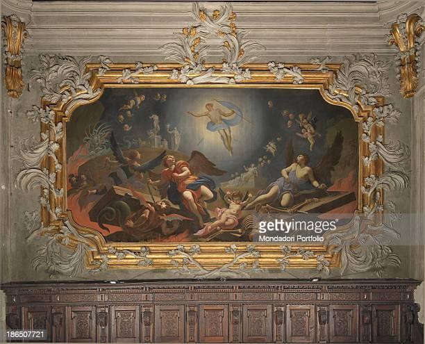 Italy FriuliVenezia Giulia Udine Cathedral of Santa Maria Annunziata choir Whole artwork view Inside a frame decorated with stucco a religious scene...