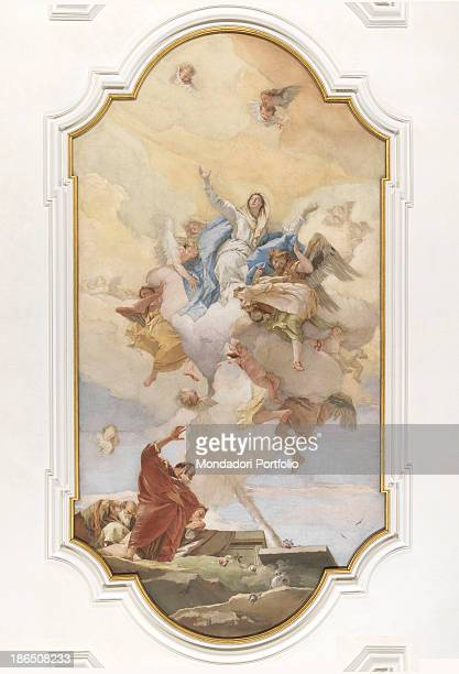 Italy FriuliVenezia Giulia Udine oratory of Purity ceiling Whole artwrk view The Virgin ascending to heaven lifted by the angel Michael In the lower...