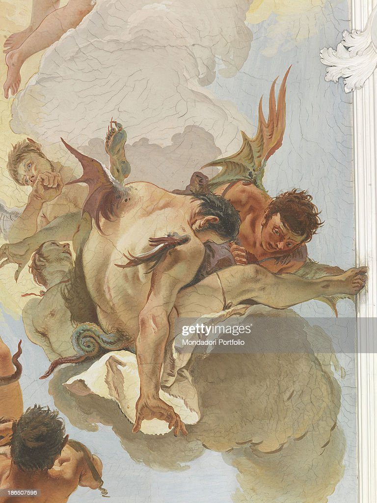 The Archangel Michael Casts out the Rebellious Angels from Paradise, by Giambattista Tiepolo, 1726, 18th Century, fresco : News Photo
