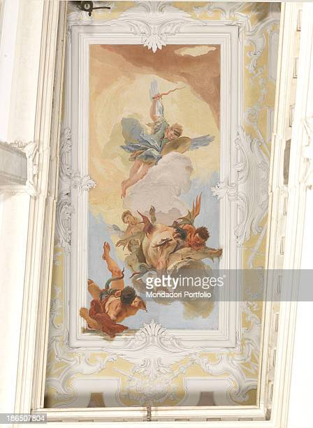 Italy FriuliVenezia Giulia Udine patriarchal palace staircase Whole artwork view The archangel Michael blonde and young with a sword hunting...