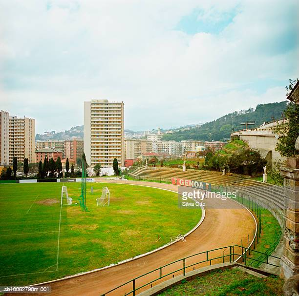 Italy, Genoa, football pitch, elevated view