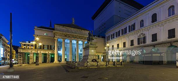 Italy, Genoa, Piazza de Ferrari, Giuseppe Garibaldi monument at night
