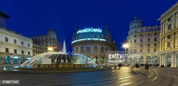 Italy, Genoa, Piazza de Ferrari, Palazzo della Regione Liguria at night