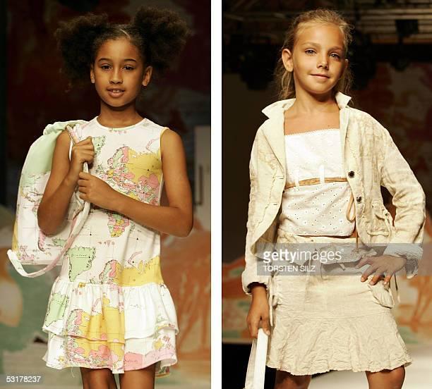 Girls display fashion of the label BJ Explorer designed by Alviero Martini 01 July 2005 during the Pitti Immagine Bimbo children fashion fair in...