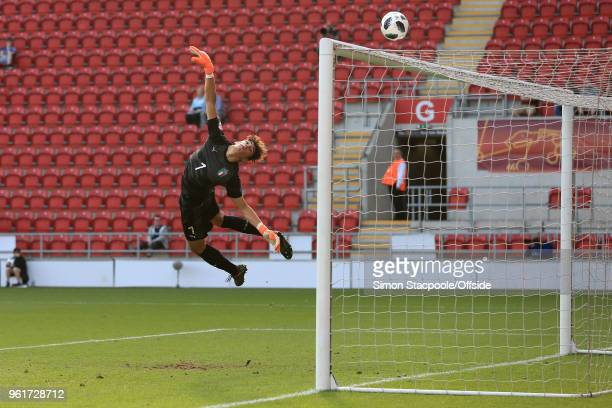 Italy goalkeeper Alessandro Russo dives to make a save during the UEFA European Under17 Championship Final match between Italy and Netherlands at the...