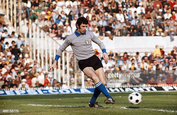 Italy Goalkeeper Dino Zoff in action during an International match circa 1976 Zoff won over 100 full caps and is the oldest player ever to have won...