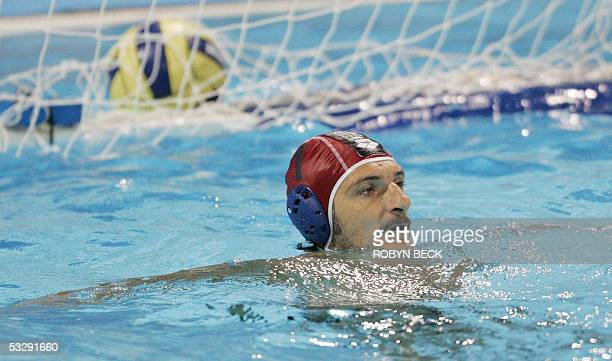 Italy goalkeeper Fabio Violetti after a shot by Greece got by him in the quarterfinal mens water polo match 26 July 2005 at the XI FINA Swimming...