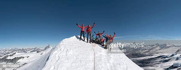 italy, gressoney, alps, castor, group of mountaineers - mountain peak stock pictures, royalty-free photos & images