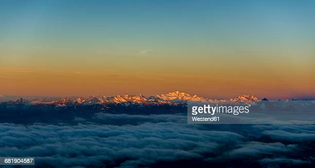Italy, Gressoney, Mont Blanc at sunset