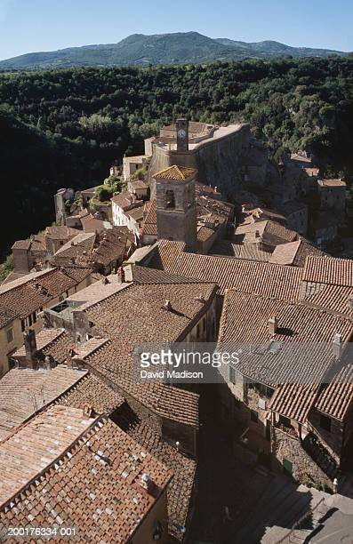 italy, grosseto province, sorano, elevated view - grosseto province stock photos and pictures