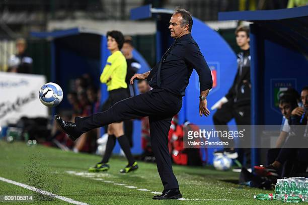Italy head coach Antonio Cabrini controls the ball during the UEFA Women's Euro 2017 Qualifier Group 6 match between Italy and Czech Republic at...