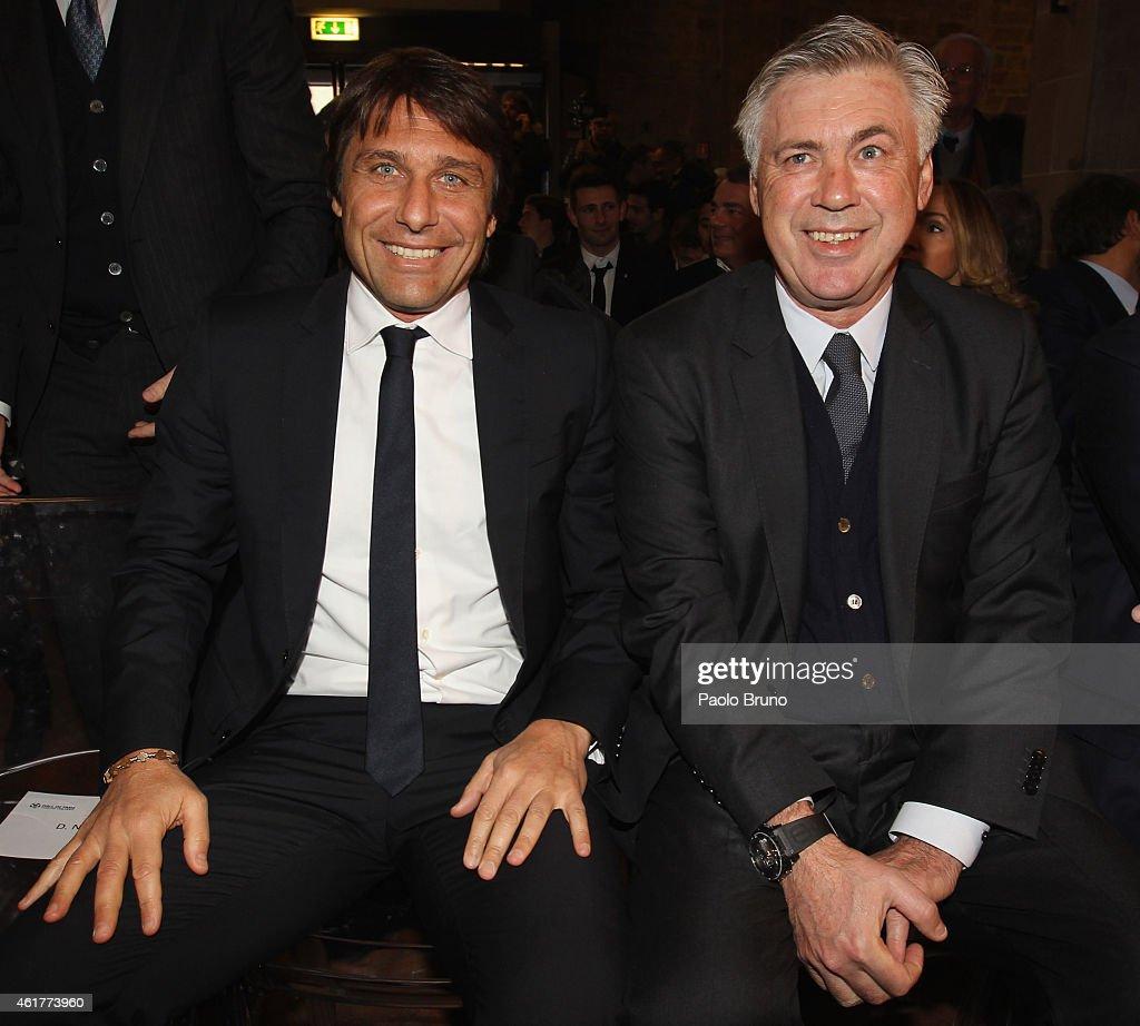 Italy head coach Antonio Conte and Real Madrid head coach Carlo Ancelotti attend the Italian Football Federation Hall of Fame Award ceremony at Palazzo Vecchio on January 19, 2015 in Florence, Italy.