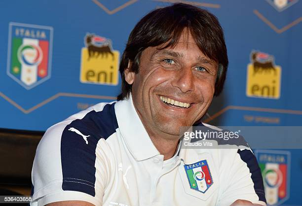 Italy head coach Antonio Conte attends a press conference to unveil the ENI sponsorship at Coverciano on June 1 2016 in Florence Italy