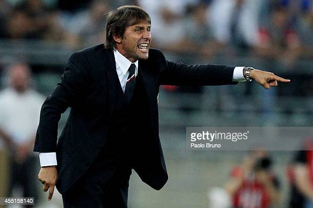Italy head coach Antonio Conte gestures during the international friendly match between Italy and Netherlands at Stadio San Nicola on September 4,...
