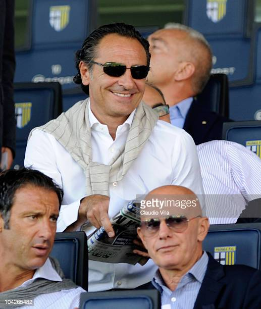 Italy head coach Cesare Prandelli and Arrigo Sacchi during the Serie A match between Parma and Genoa at Stadio Ennio Tardini on September 19 2010 in...