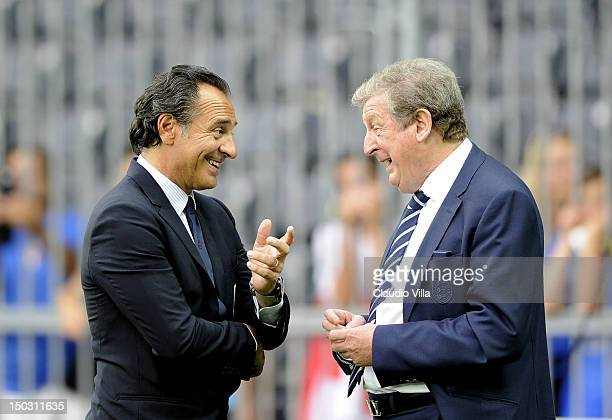 Italy head coach Cesare Prandelli and England head coach Roy Hodgson before the international friendly match between England and Italy at Stade de...