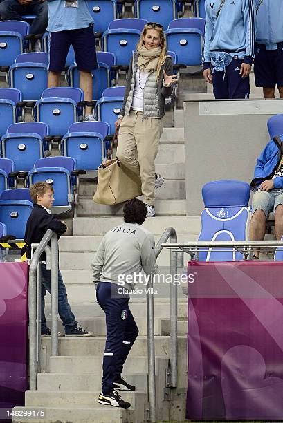 Italy head coach Cesare Prandelli and his fiance Novella Benini during a UEFA EURO 2012 training session at the Municipal Stadium on June 13 2012 in...