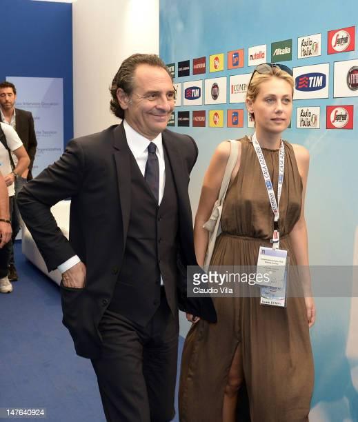 Italy head coach Cesare Prandelli and his fiance Novella Benini after Italy press conference at Casa Azzurri on July 2 2012 in Krakow Poland