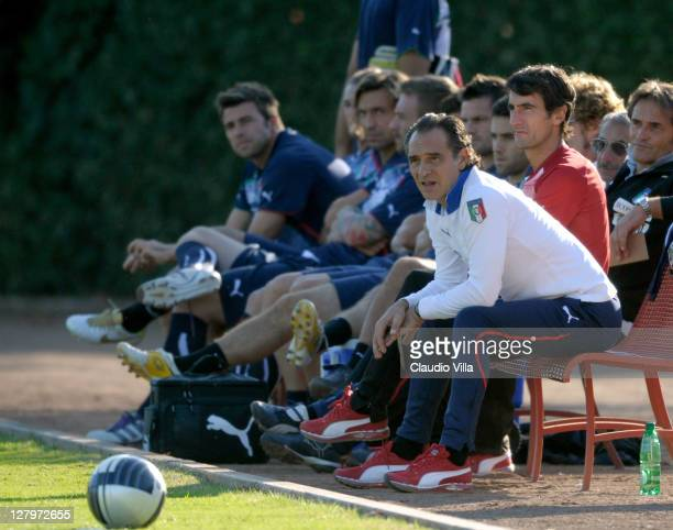 Italy head coach Cesare Prandelli attends the training sessdion at Coverciano on October 4 2011 in Florence Italy