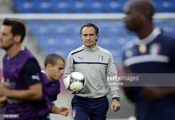 Italy head coach Cesare Prandelli during a UEFA EURO 2012 training session at the Municipal Stadium on June 13 2012 in Poznan Poland