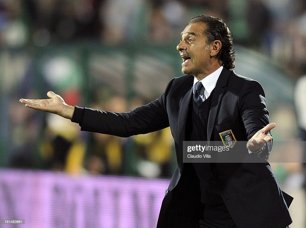 Italy head coach Cesare Prandelli gestures during the FIFA 2014 World Cup Qualifier match between Bulgaria and Italy at Vasil Levski National Stadium on September 7, 2012 in Sofia, Bulgaria.