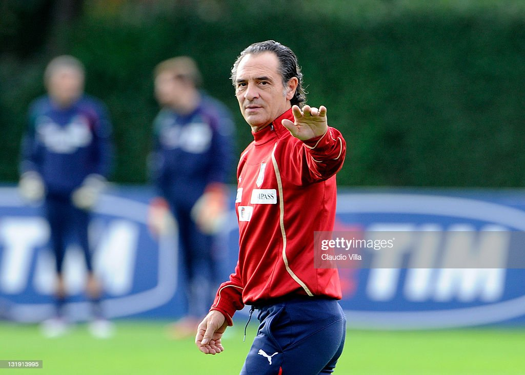 Italy head coach Cesare Prandelli gestures during training session at Coverciano on November 8, 2011 in Florence, Italy.