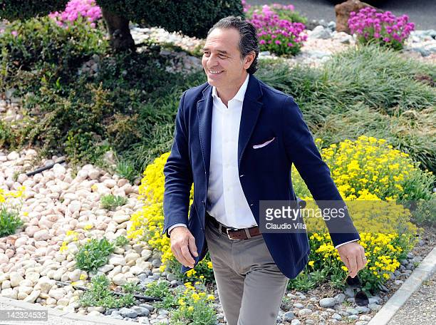 Italy head coach Cesare Prandelli visits the Parma FC training ground on April 2 2012 in Collecchio Italy