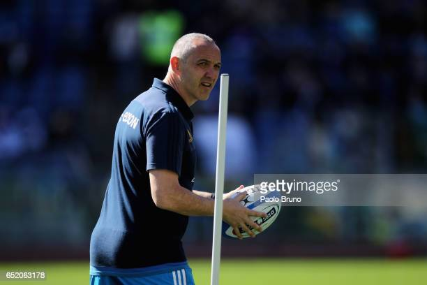 Italy head coach Conor O'Shea looks on before the RBS Six Nations match between Italy and France at Stadio Olimpico on March 11 2017 in Rome Italy