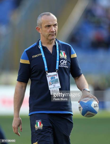 Italy head coach Conor O'Shea looks on during the NatWest Six Nations match between Italy and England at Stadio Olimpico on February 4 2018 in Rome...