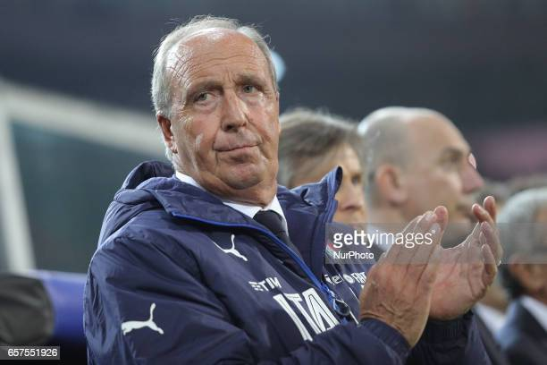 Italy head coach Gian Piero Ventura looks on prior to the FIFA 2018 World Cup Qualifier between Italy and Albania at Stadio Renzo Barbera on March 24...