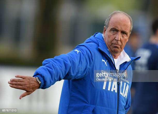 Italy head coach Gianpiero Ventura looks on during the training session at the club's training ground at Coverciano on March 25 2017 in Florence Italy