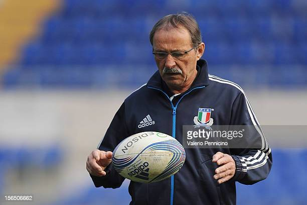 Italy head coach Jacques Brunel attends a training session at Stadio Olimpico on November 16 2012 in Rome Italy