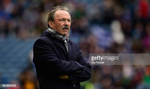 Italy head coach Jacques Brunel looks on before the RBS Six Nations match between Scotland and Italy at Murrayfield Stadium on February 28 2015 in...